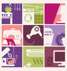 vintage home appliances icons vector image vector image