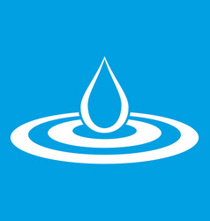 Water drop and spill icon white vector