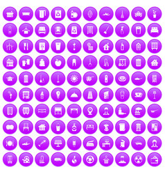 100 cleaning icons set purple vector