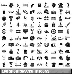100 sportsmanship icons set simple style vector