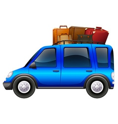 Blue car loaded with luggages vector