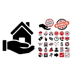 Home offer flat icon with bonus vector