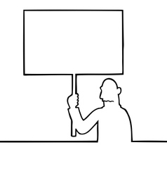 Sad man holding a protest sign vector