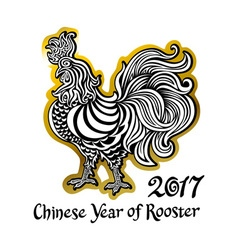 Black and white golden rooster on white background vector