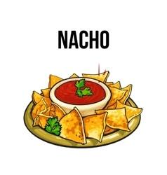 Mexican nachos corn tortilla with salsa sauce vector