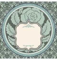 Vintage rose in round frame vector image