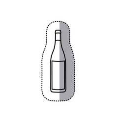Sticker black contour of glass bottle vector