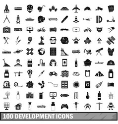 100 development icons set simple style vector
