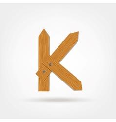 Wooden Boards Letter K vector image