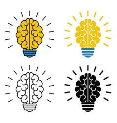 set of brain light bulb icons vector image
