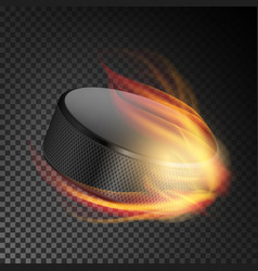realistic ice hockey puck in fire burning hockey vector image
