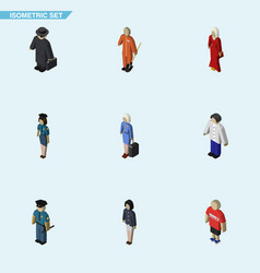 Isometric person set of detective male officer vector