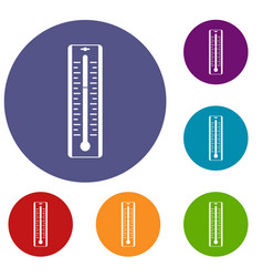 Thermometer with degrees icons set vector
