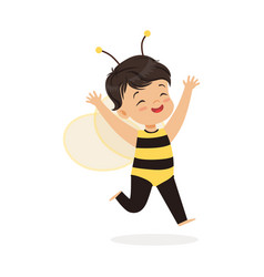 Cute happy little girl dressed as a bee kids vector