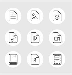 file formats line icons vector image