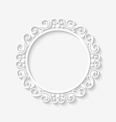Vintage circle border white frame vector image