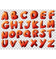 Alphabet artwork in orange color vector
