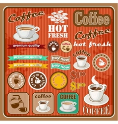 Vintage coffee and tea set icon vector image
