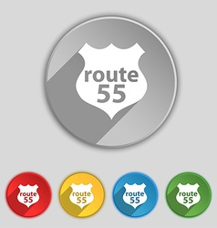 Route 55 highway icon sign symbol on five flat vector