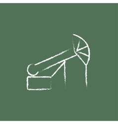 Pump jack oil crane icon drawn in chalk vector