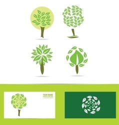 Green tree logo icon set vector