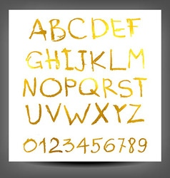 Gold hand drawn alphabet pattern vector