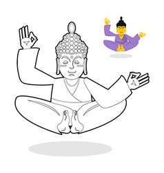 Buddha coloring book buddha meditating indian god vector