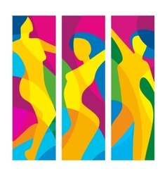 The dancing beautiful girl on a colorful vector