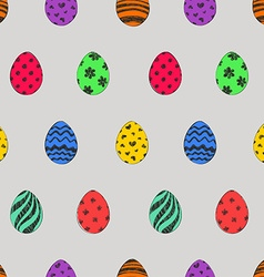 Easter seamless pattern with colorful eggs vector