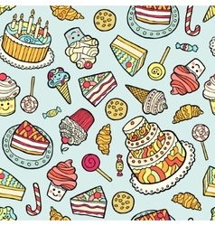 Seamless pattern with sweets on blue background vector