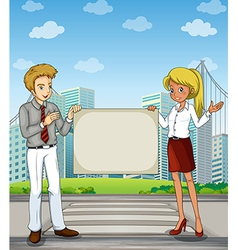A man and a woman at the pedestrian lane holding vector image
