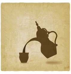 arabic coffee pot old background vector image vector image