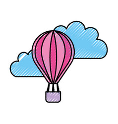 Beautiful fantasy cloud with balloon air hot vector
