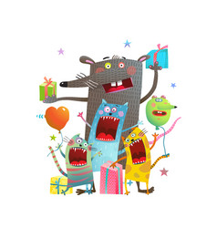 Big rat and cats party vector