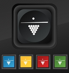 Billiard pool game equipment icon symbol set of vector