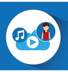 Cartoon girl music cloud app vector