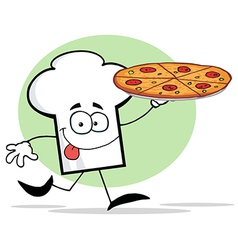 Chef Hat Guy Holding A Pizza vector image vector image