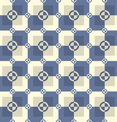 Circle-squares pattern in blue and sand colors vector image vector image