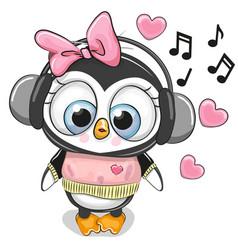 cute cartoon penguin girl with headphones vector image
