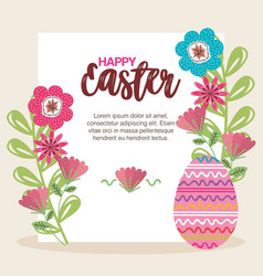 Eggs paint and flowers easter season vector