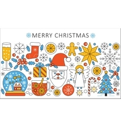 Elegant color flat line christmas and happy vector