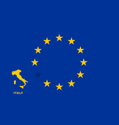 Eu flag with italy country european union vector