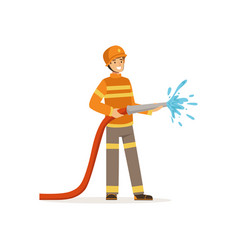 fireman character holding hose extinguishing fire vector image