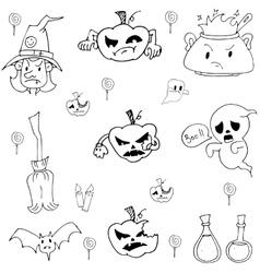 Halloween pumpkins ghost candy doodle set vector