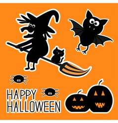 Happy halloween set witch pumpkins bat spiders vector