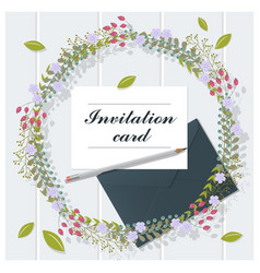 Invitation card collection on wooden background vector