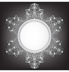 Jewelry silver frame with pearls on black vector image
