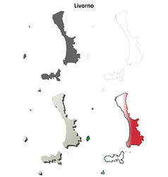 Livorno blank detailed outline map set vector image vector image