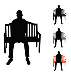 Man silhouette siting on chair set color on white vector