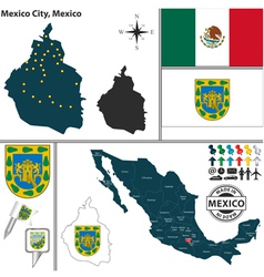 Map of Mexico City vector image vector image